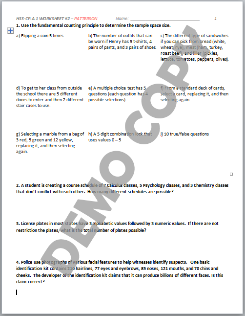 Worksheets Sample Space Worksheet sample space probability worksheet pictures to pin on pinterest davezan 354x500 hss