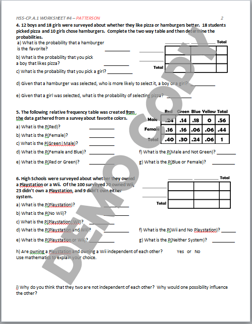 High School Geometry Common Core HSSCPA1 Sample Spaces Venn – Two Way Frequency Table Worksheet